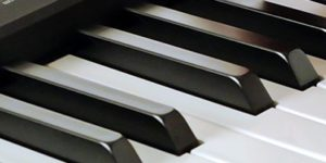 Plastic keys of the Kawai ES110 with matte finish