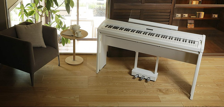 Kawai ES8 white with stand and pedal unit
