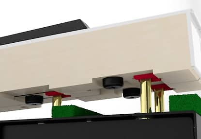 The counterweights of the Grand Feel Compact key action on the Kawai CA48