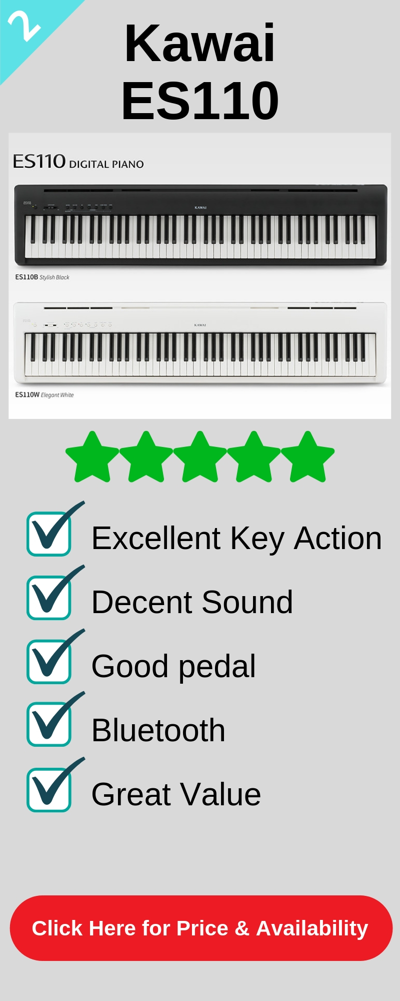 The second best digital piano under $1,000 is the Kawai ES110