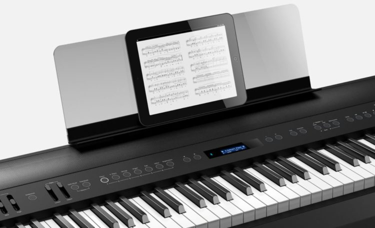 The Roland FP-90 with transparent music rest and Bluetooth.
