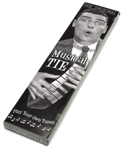 Playable tie that's perfect as a Christmas gift.
