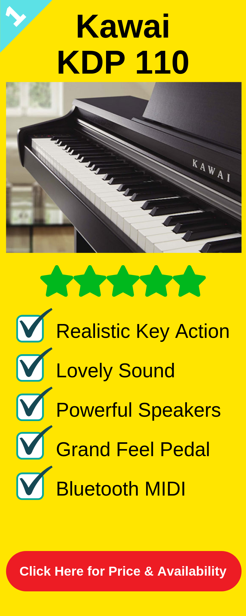 The best digital piano under 1000 is the Kawai KDP 110