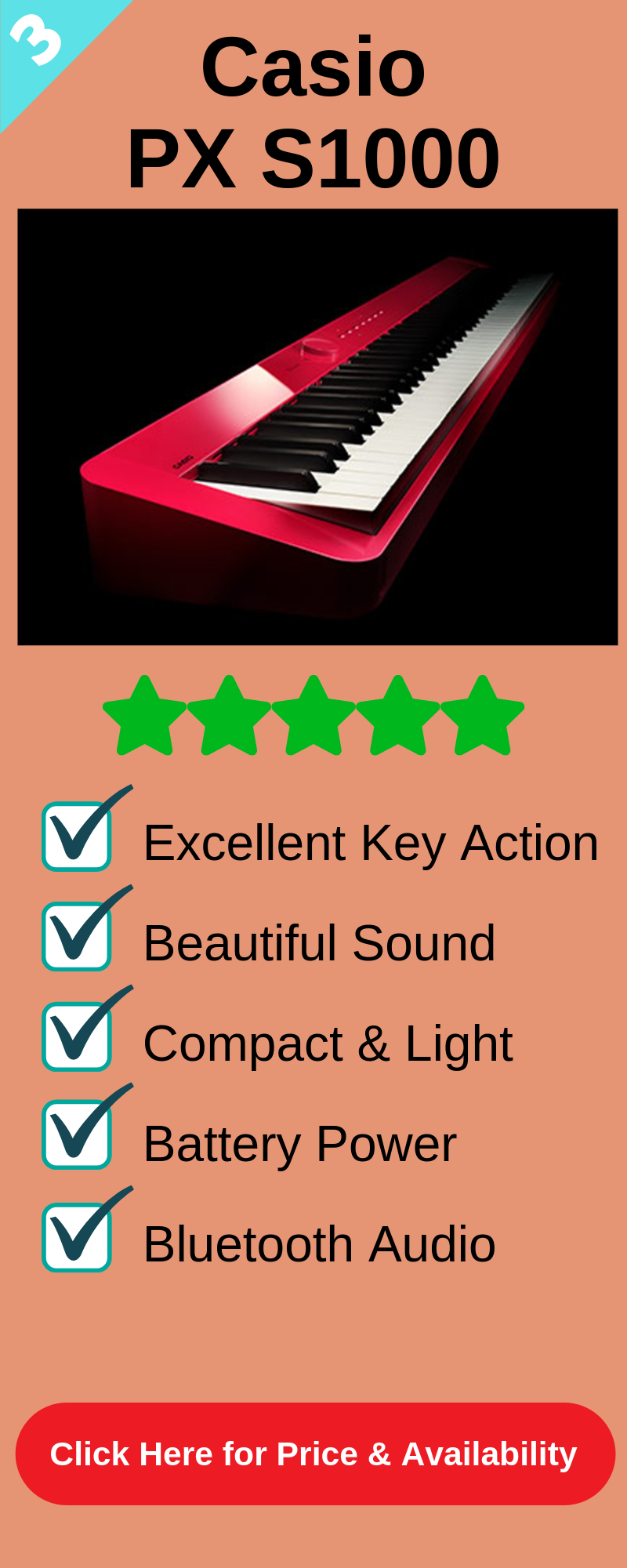3rd best digital piano under 1000 is the Casio PX S1000