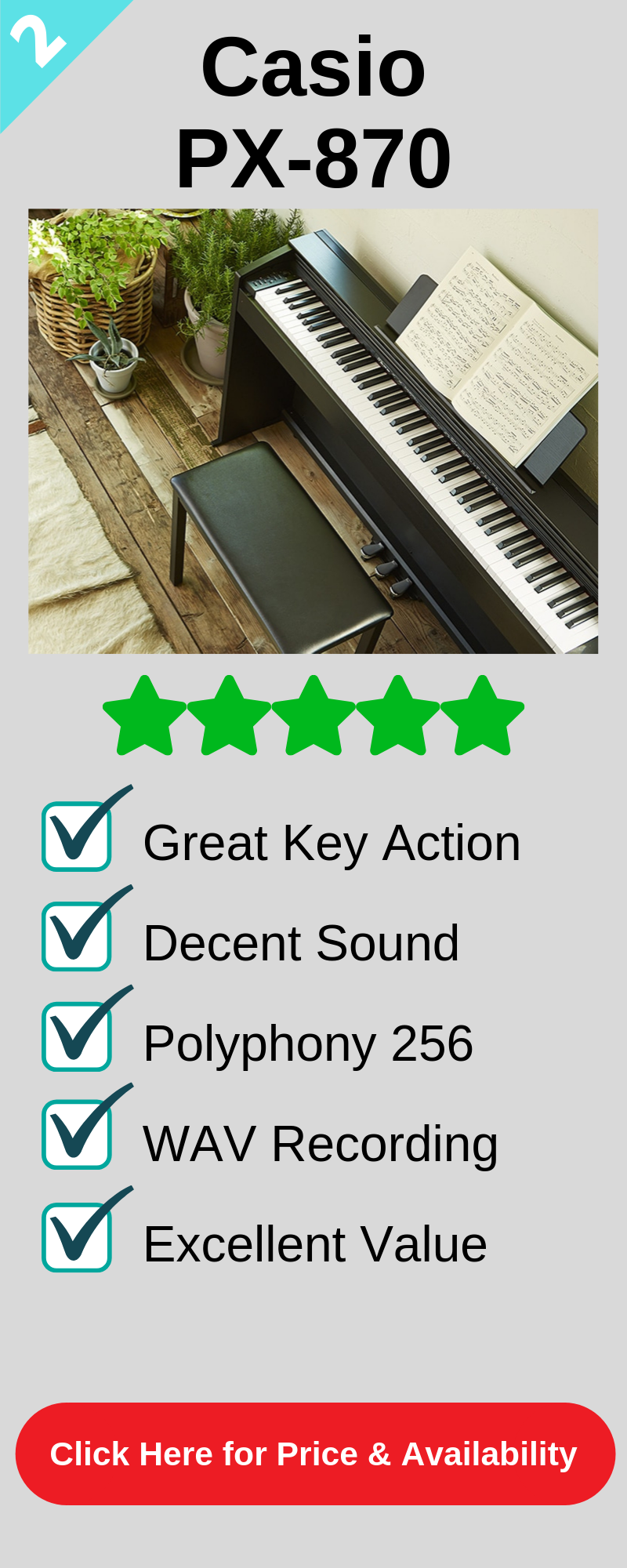 The 2nd best digital piano under 1000 is the Casio PX870