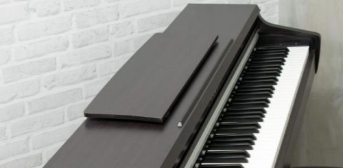 Fold-able music rest on the Kawai KDP 110