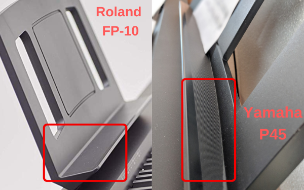 Music Rest of the Roland FP-10 compare to Yamaha P45