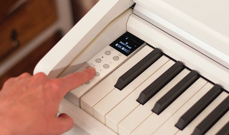 The newly designed control panel and OLED display on the Kawai CA49