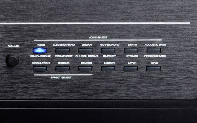 The right side of the control panel on the Alesis Recital Pro