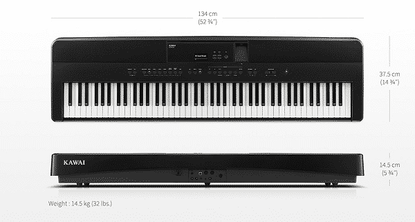 Kawai ES520 Review - size and weight